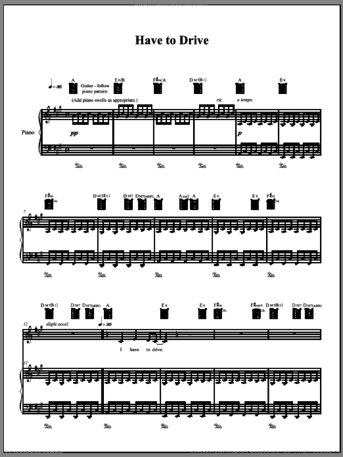 Have To Drive sheet music for voice, piano or guitar by Amanda Palmer, intermediate skill level
