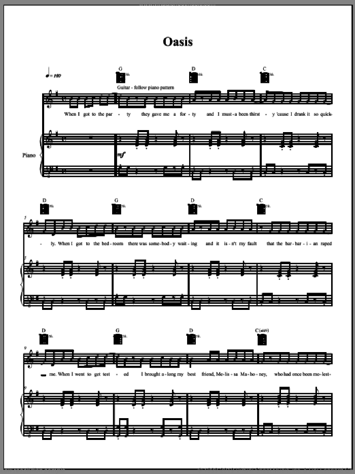 Oasis sheet music for voice, piano or guitar by Amanda Palmer. Score Image Preview.