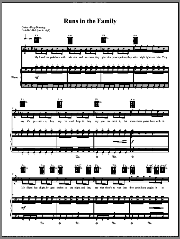 Runs In The Family sheet music for voice, piano or guitar by Amanda Palmer, intermediate