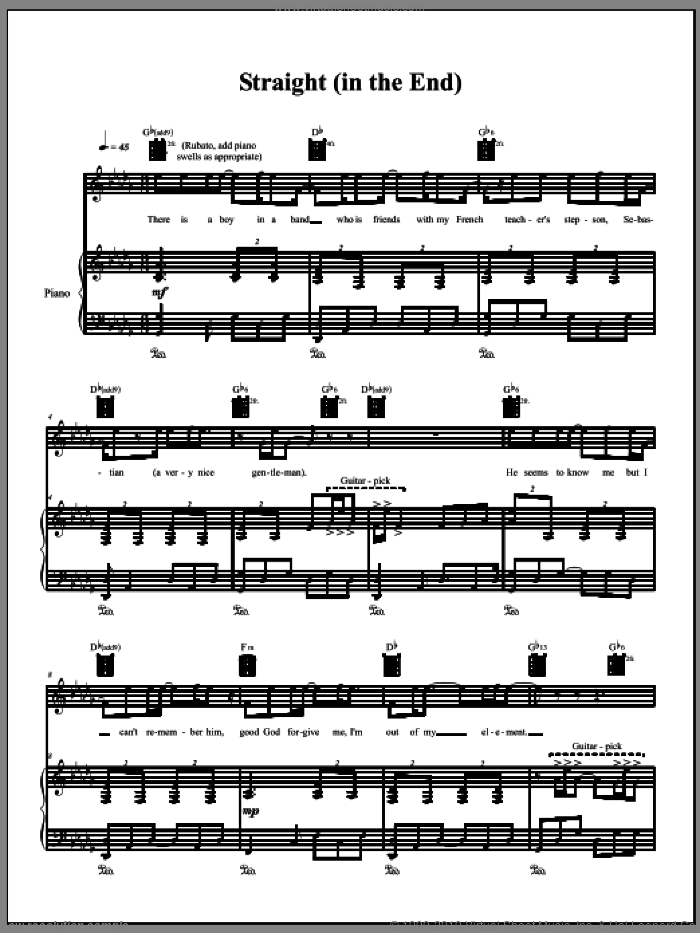 Straight (In The End) sheet music for voice, piano or guitar by Amanda Palmer. Score Image Preview.