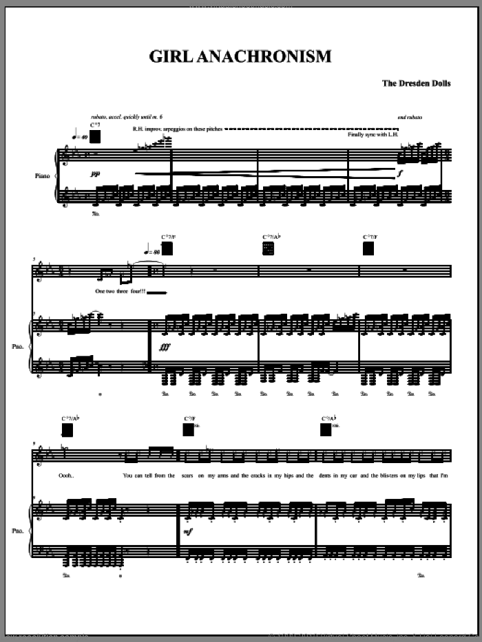 Girl Anachronism sheet music for voice, piano or guitar by The Dresden Dolls and Amanda Palmer, intermediate voice, piano or guitar. Score Image Preview.