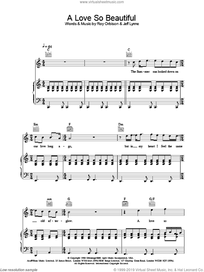 A Love So Beautiful sheet music for voice, piano or guitar by Roy Orbison. Score Image Preview.