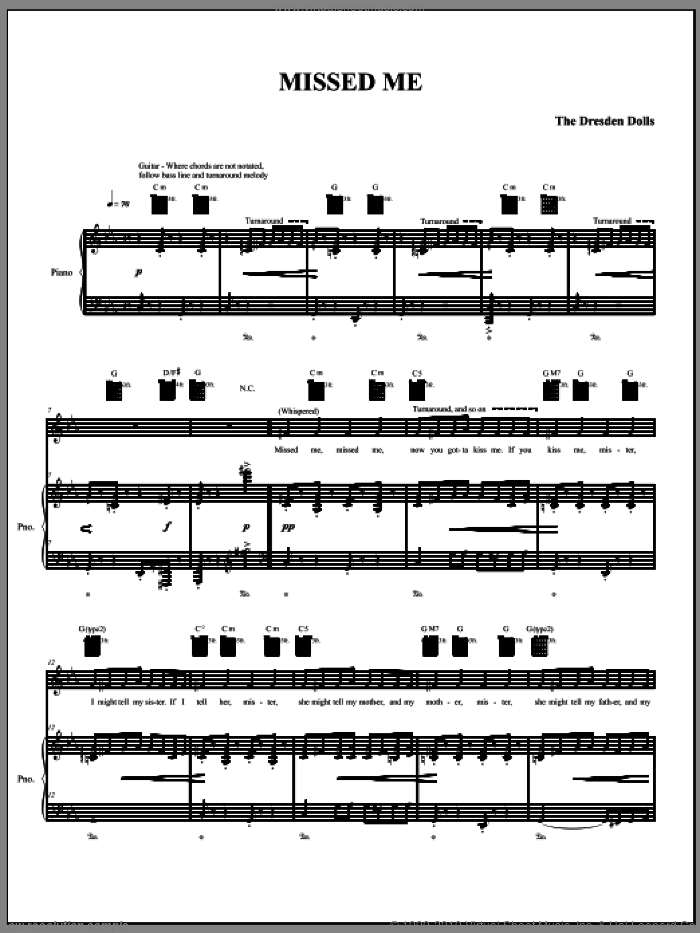 Missed Me sheet music for voice, piano or guitar by The Dresden Dolls and Amanda Palmer. Score Image Preview.