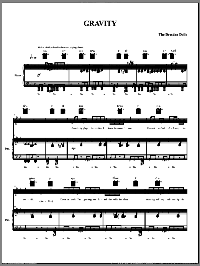 Gravity sheet music for voice, piano or guitar by The Dresden Dolls and Amanda Palmer. Score Image Preview.