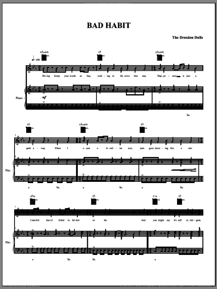 Bad Habit sheet music for voice, piano or guitar by The Dresden Dolls and Amanda Palmer, intermediate skill level