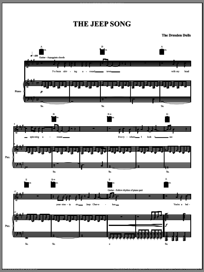 The Jeep Song sheet music for voice, piano or guitar by The Dresden Dolls and Amanda Palmer, intermediate. Score Image Preview.