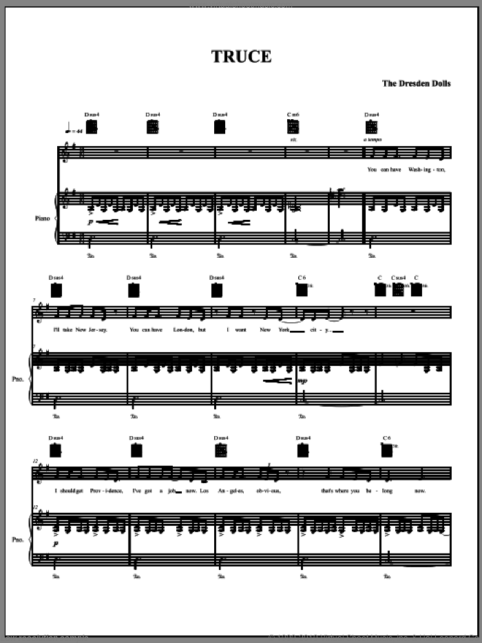 Truce sheet music for voice, piano or guitar by The Dresden Dolls and Amanda Palmer, intermediate. Score Image Preview.