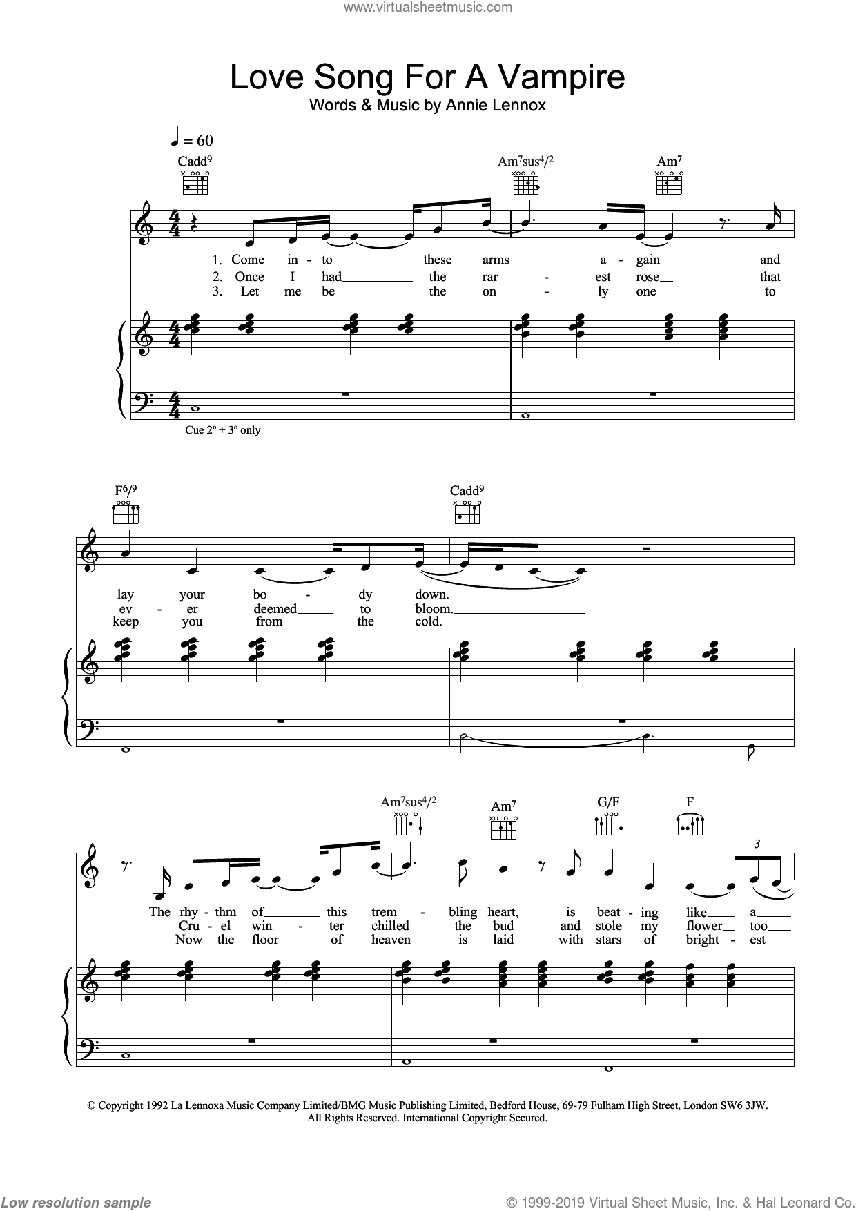 Love Song For A Vampire sheet music for voice, piano or guitar by Annie Lennox. Score Image Preview.
