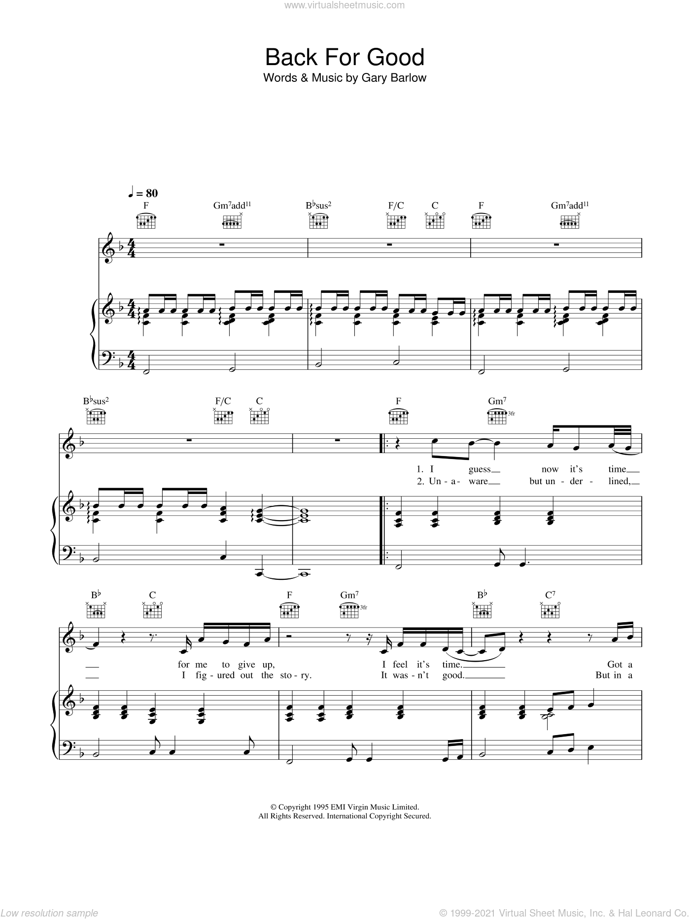 Back For Good sheet music for voice, piano or guitar by Take That, intermediate skill level