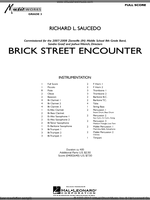 Brick Street Encounter (COMPLETE) sheet music for concert band by Richard L. Saucedo