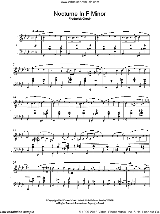Nocturne In F Minor sheet music for piano solo. Score Image Preview.