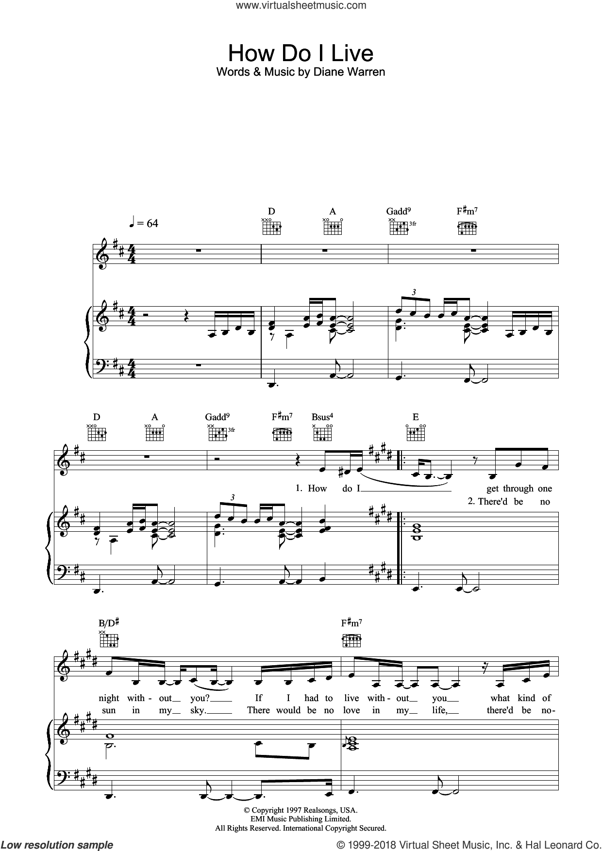 How Do I Live sheet music for voice, piano or guitar by LeAnn Rimes and Diane Warren, intermediate skill level