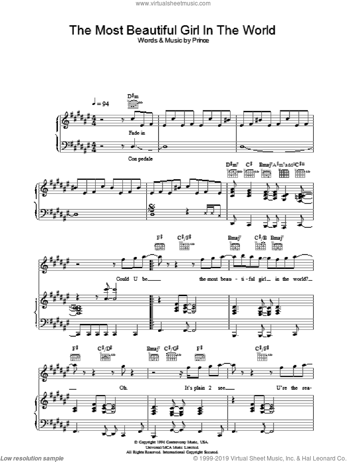 The Most Beautiful Girl In The World sheet music for voice, piano or guitar by Prince. Score Image Preview.