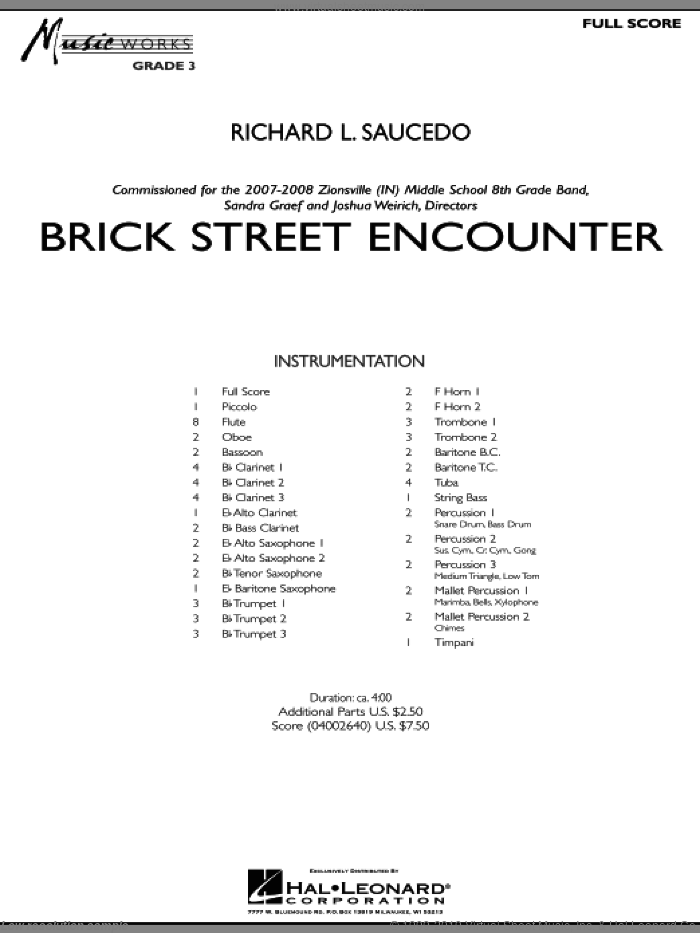Brick Street Encounter (COMPLETE) sheet music for concert band by Richard L. Saucedo, intermediate skill level
