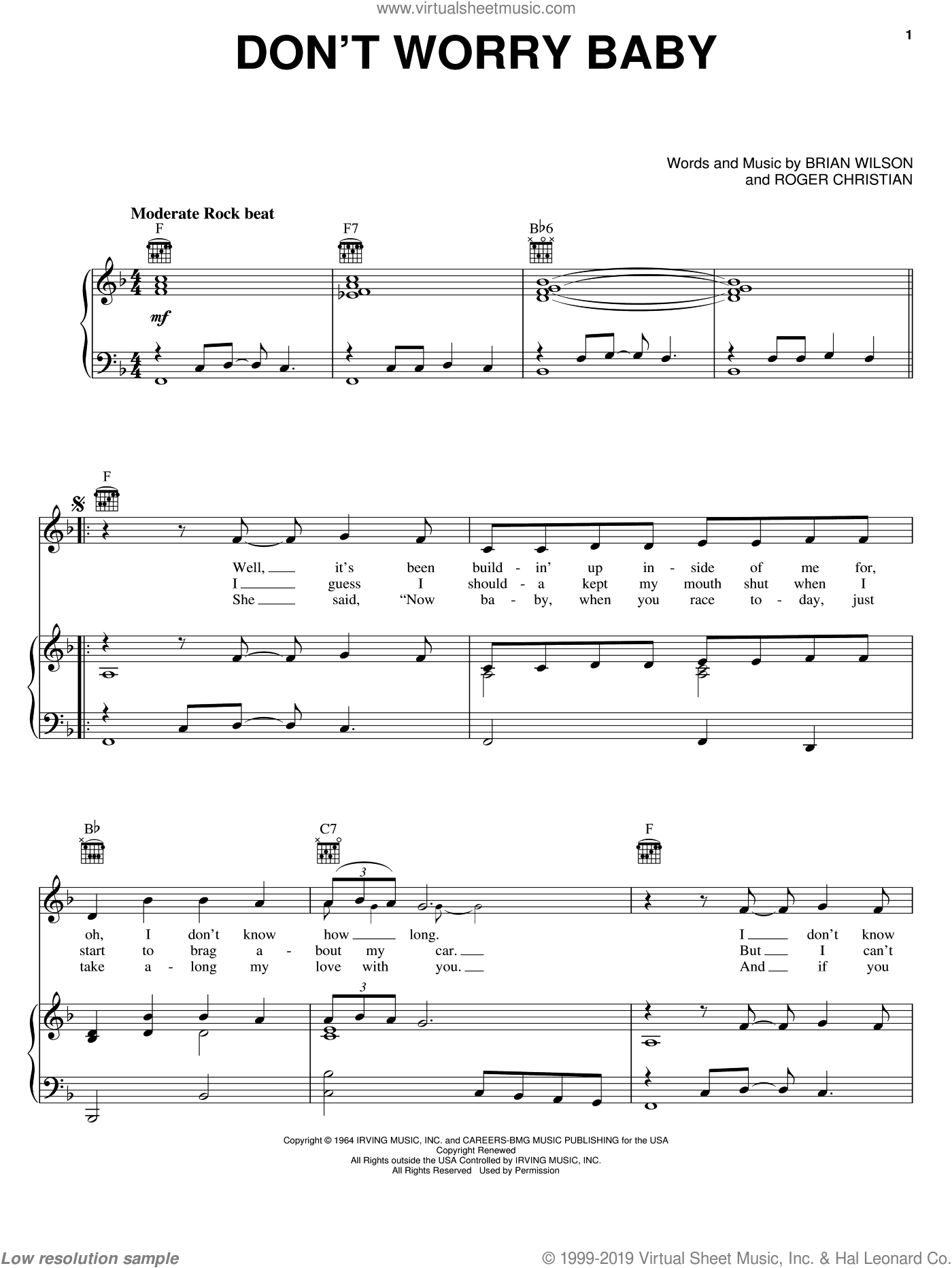 Don't Worry Baby sheet music for voice, piano or guitar by The Beach Boys, Lorrie Morgan, The Beach Boys featuring Lorrie Morgan, Brian Wilson and Roger Christian, intermediate skill level