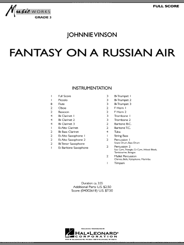 Fantasy on a Russian Air (COMPLETE) sheet music for concert band by Johnnie Vinson, intermediate skill level
