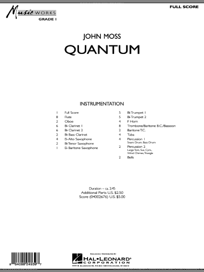 Quantum (COMPLETE) sheet music for concert band by John Moss, intermediate skill level
