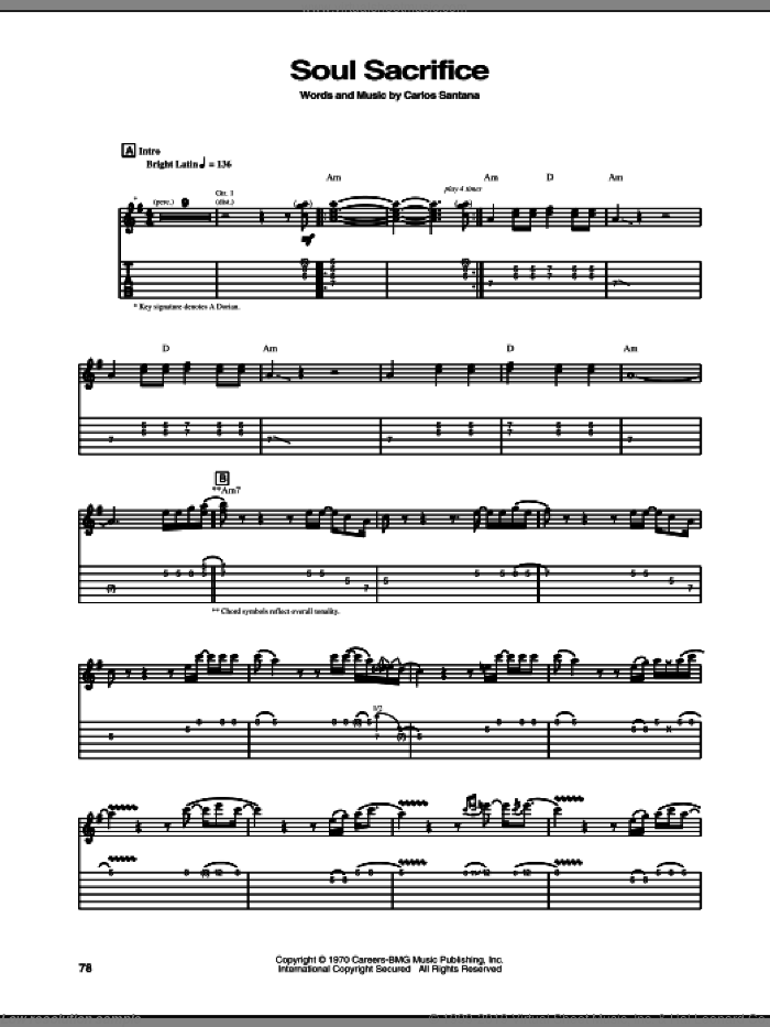 Soul Sacrifice sheet music for guitar (tablature) by Carlos Santana. Score Image Preview.