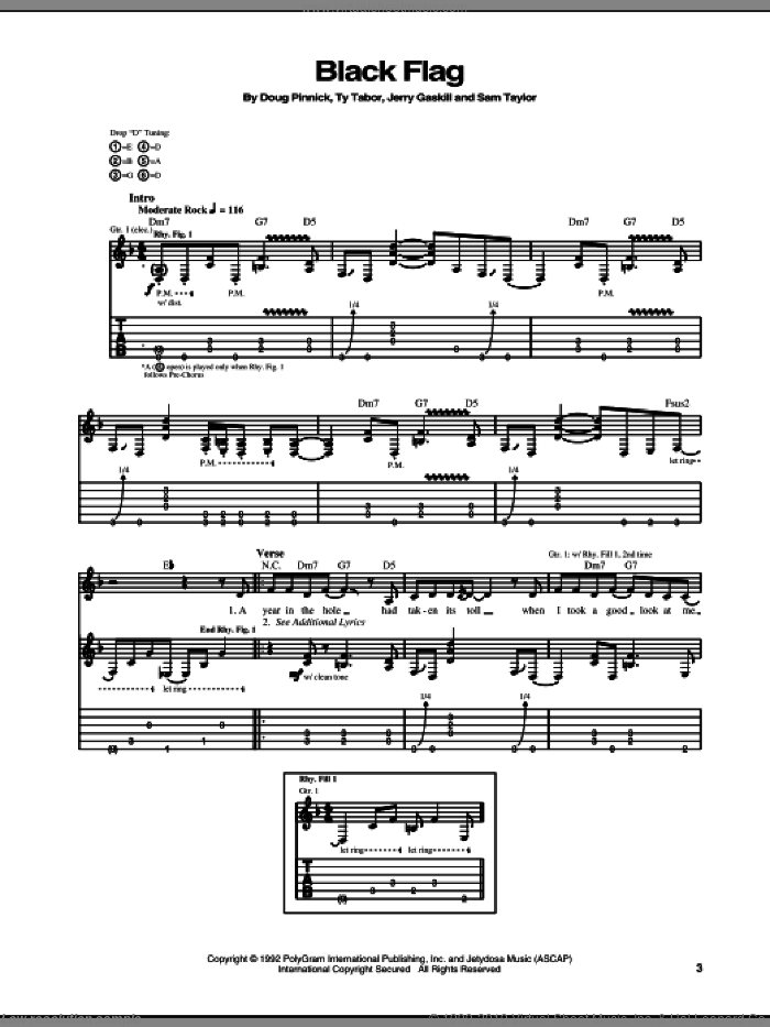 Black Flag sheet music for guitar (tablature) by King's X. Score Image Preview.