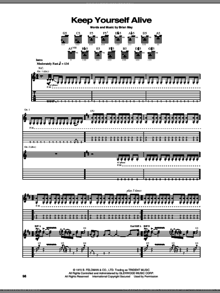 Keep Yourself Alive sheet music for guitar (tablature) by Queen and Brian May, intermediate skill level
