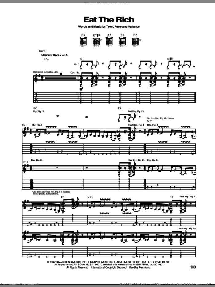 Eat The Rich sheet music for guitar (tablature) by Aerosmith and Jim Vallance. Score Image Preview.