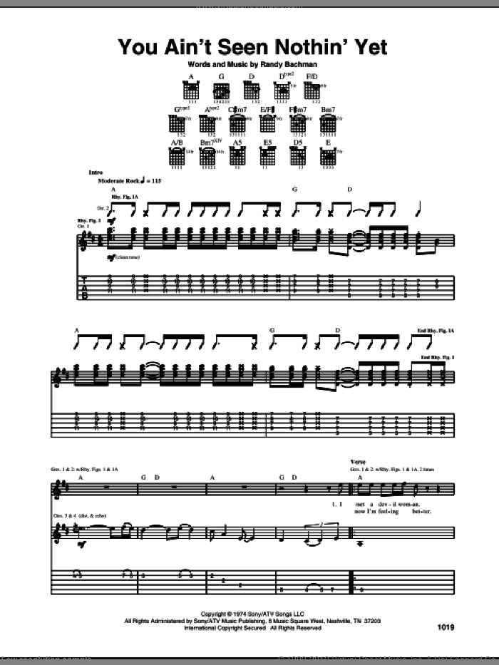 You Ain't Seen Nothin' Yet sheet music for guitar (tablature) by Bachman-Turner Overdrive and Randy Bachman, intermediate skill level