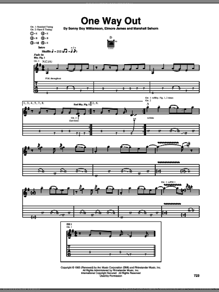 One Way Out sheet music for guitar (tablature) by Allman Brothers Band, The Allman Brothers Band, Elmore James, Marshall Sehorn and Sonny Boy Williamson, intermediate skill level