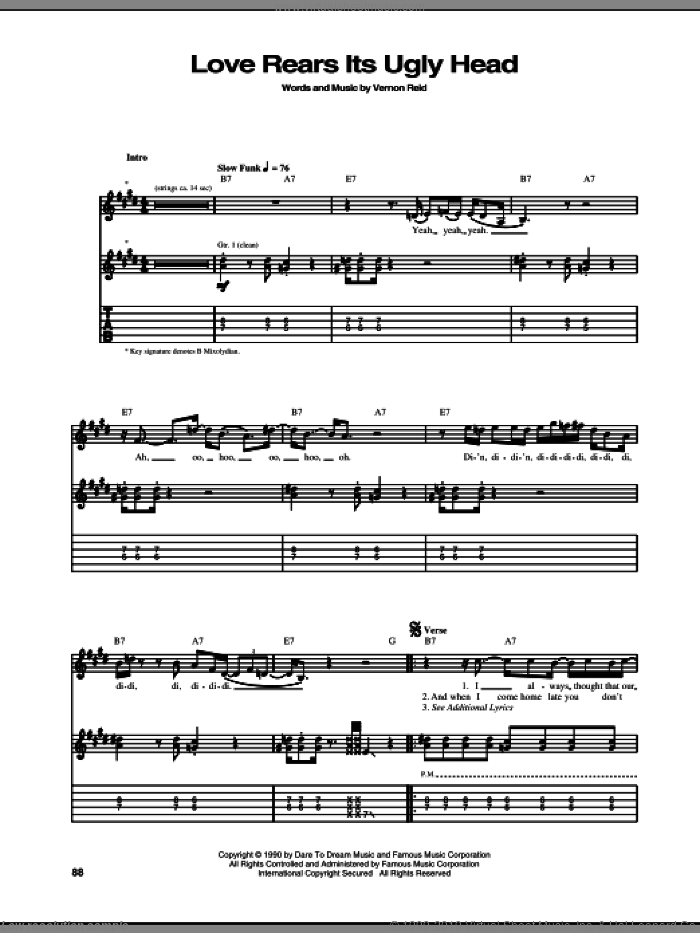 Love Rears Its Ugly Head sheet music for guitar (tablature) by Vernon Reid. Score Image Preview.