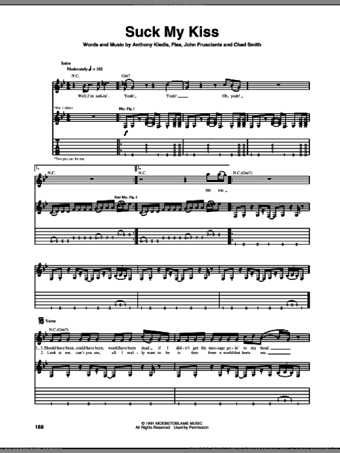 Suck My Kiss sheet music for guitar (tablature) by Red Hot Chili Peppers, intermediate. Score Image Preview.