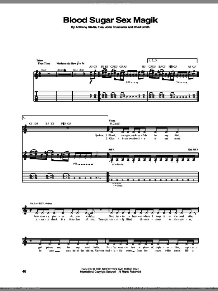 Blood Sugar Sex Magik sheet music for guitar (tablature) by Red Hot Chili Peppers, Anthony Kiedis, Chad Smith, Flea and John Frusciante, intermediate