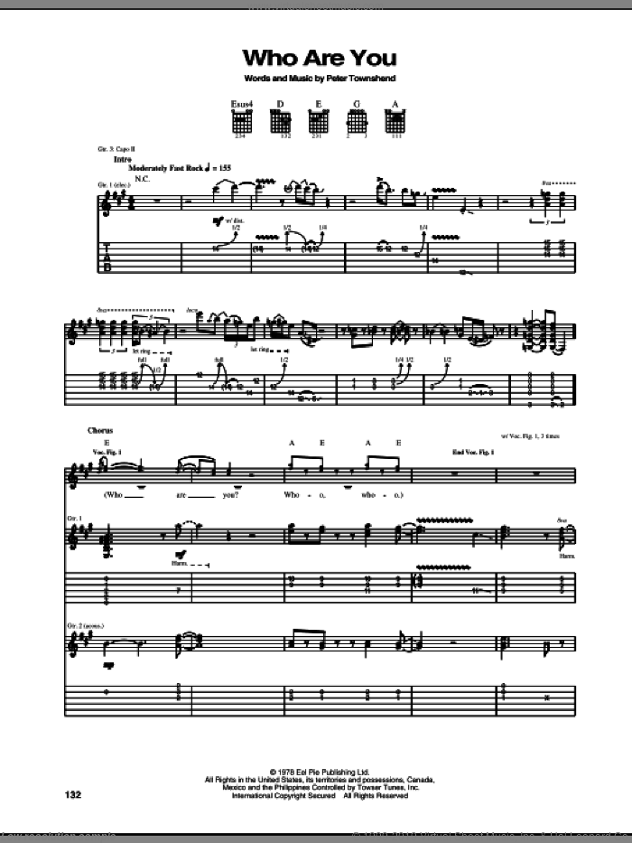 Who Are You sheet music for guitar (tablature) by The Who and Pete Townshend, intermediate skill level