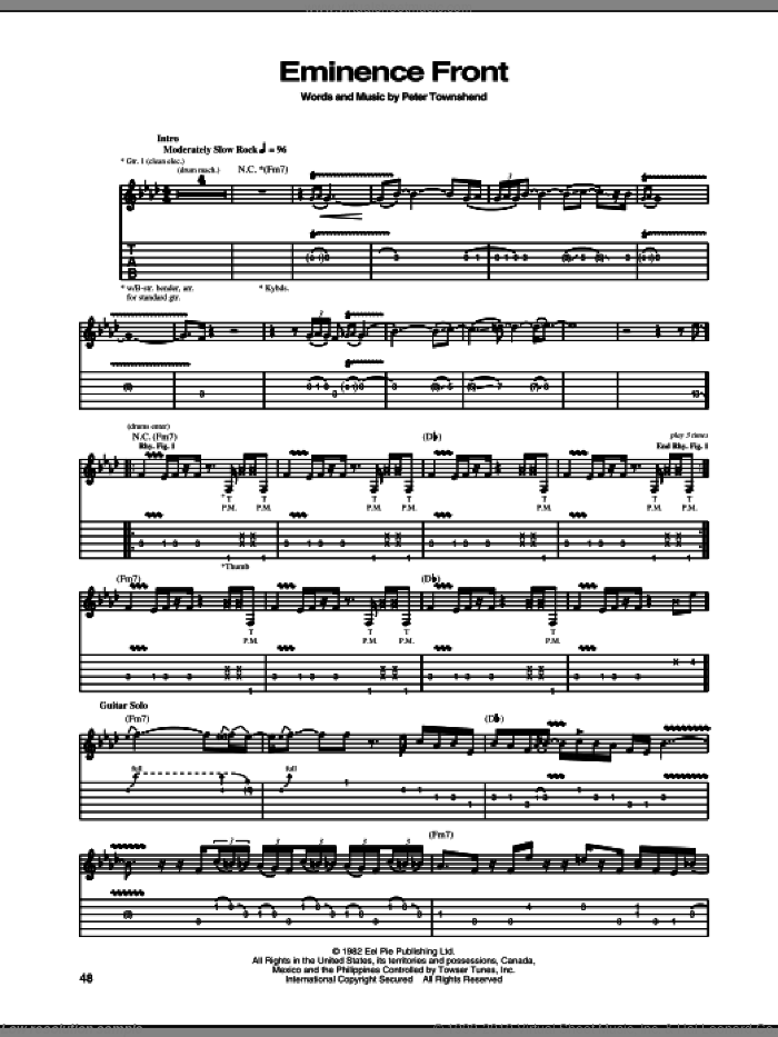 Eminence Front sheet music for guitar (tablature) by The Who and Pete Townshend, intermediate. Score Image Preview.
