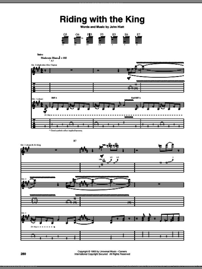 Riding With The King sheet music for guitar (tablature) by Eric Clapton, B.B. King and John Hiatt, intermediate skill level