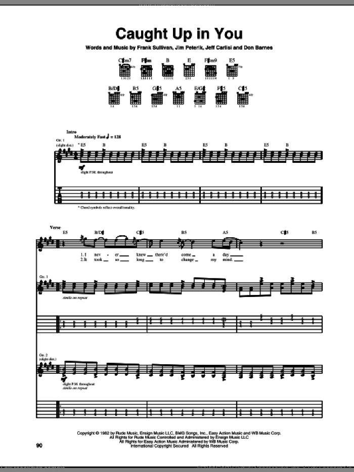 Caught Up In You sheet music for guitar (tablature) by 38 Special and Jim Peterik, intermediate guitar (tablature). Score Image Preview.