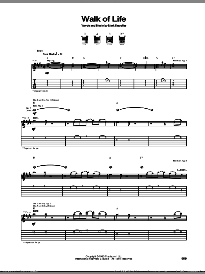 Walk Of Life sheet music for guitar (tablature) by Dire Straits and Mark Knopfler. Score Image Preview.