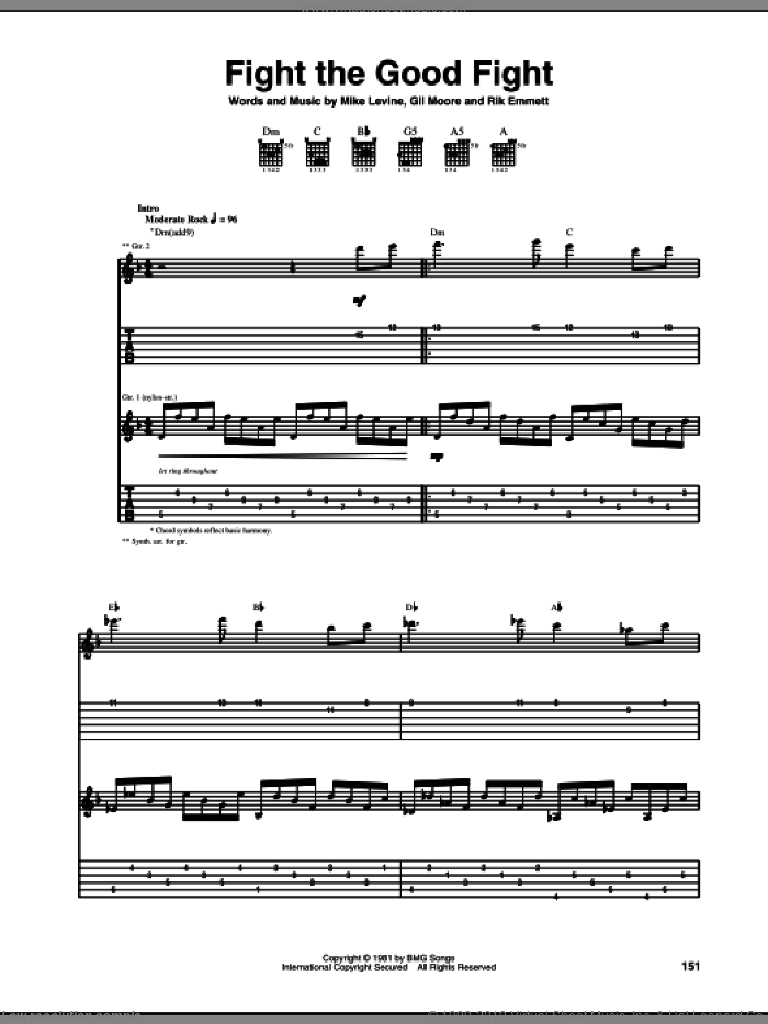 Fight The Good Fight sheet music for guitar (tablature) by Rik Emmett. Score Image Preview.