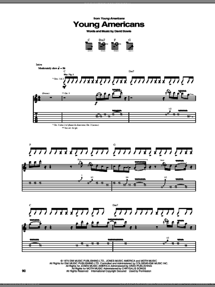 Young Americans sheet music for guitar (tablature) by David Bowie, intermediate. Score Image Preview.