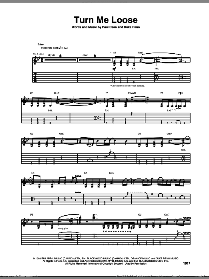 Turn Me Loose sheet music for guitar (tablature) by Loverboy, Duke Reno and Paul Dean, intermediate skill level