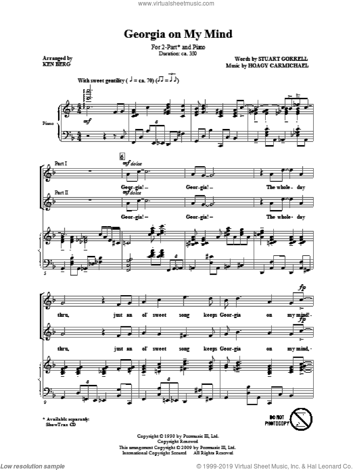 Georgia On My Mind sheet music for choir and piano (duets) by Hoagy Carmichael