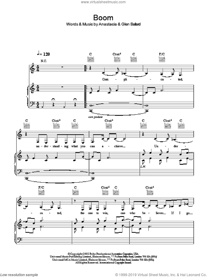 Boom sheet music for voice, piano or guitar by Anastacia