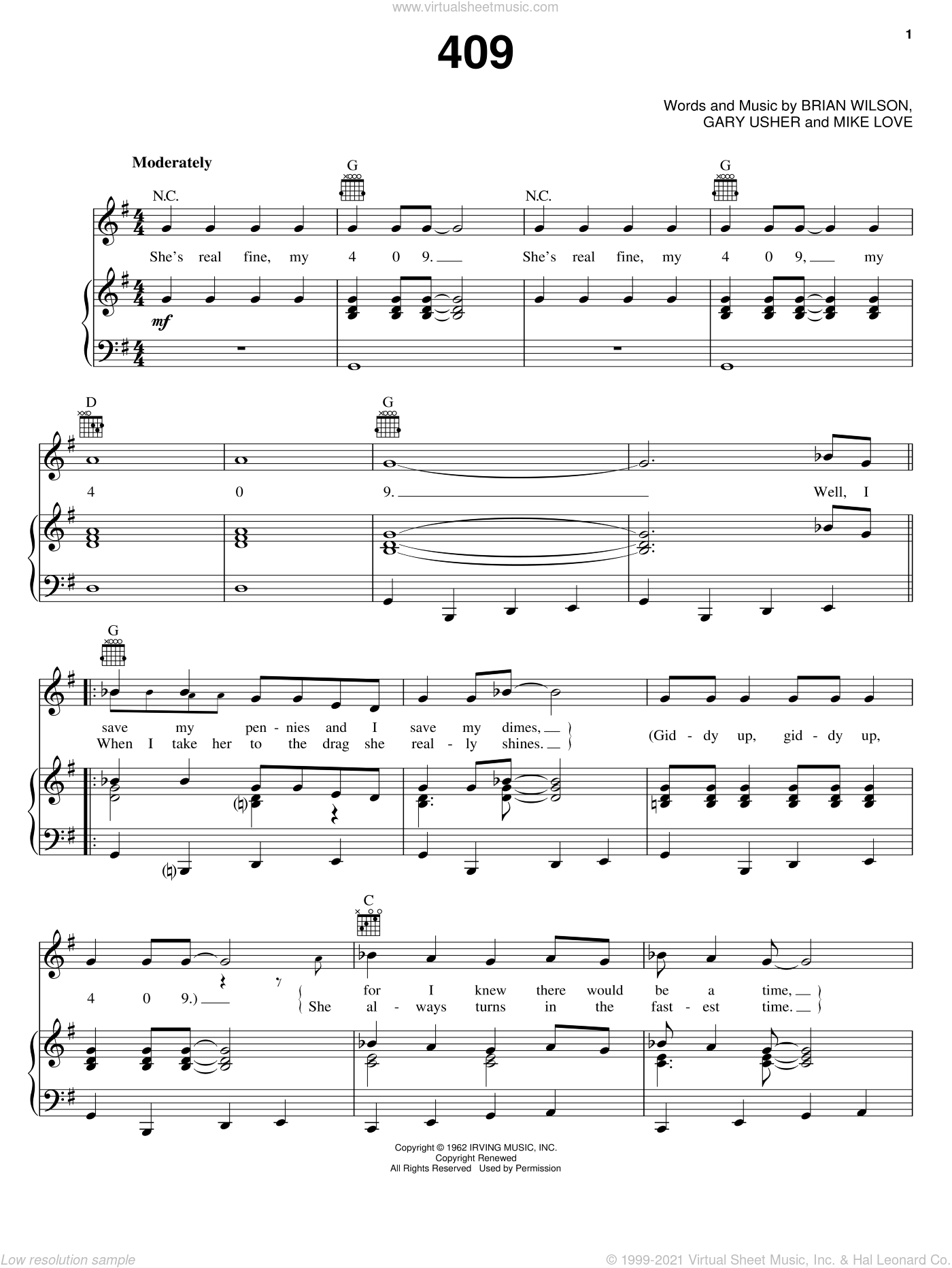 409 sheet music for voice, piano or guitar by The Beach Boys, Brian Wilson and Gary Usher, intermediate voice, piano or guitar. Score Image Preview.