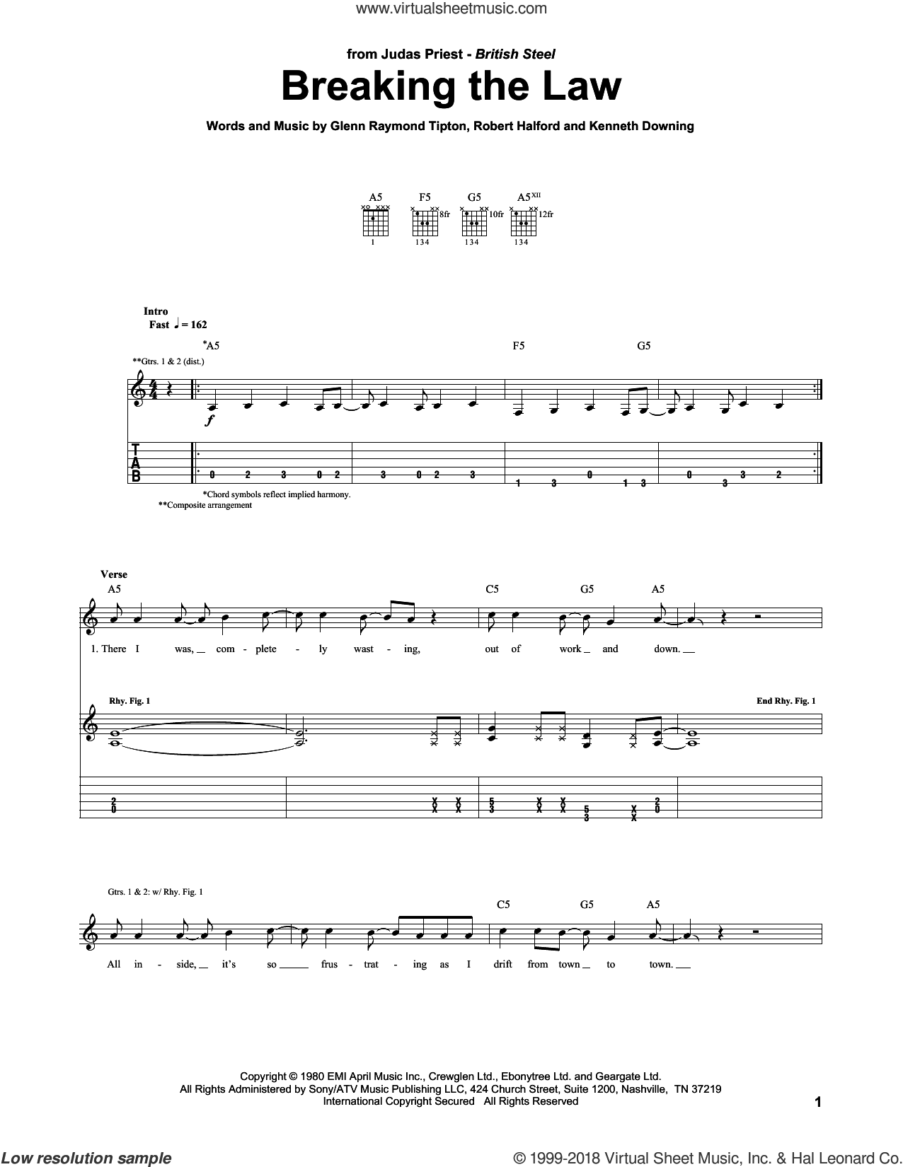 Breaking The Law sheet music for guitar (tablature) by Rob Halford, Judas Priest, Glenn Tipton and K.K. Downing. Score Image Preview.