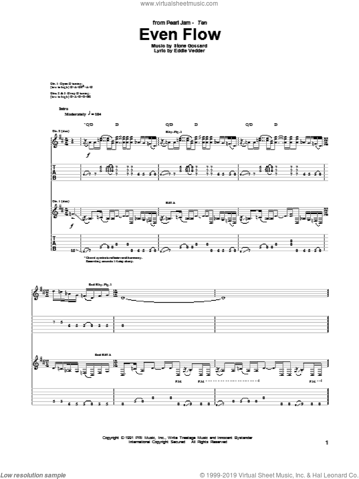 Even Flow sheet music for guitar (tablature) by Pearl Jam and Eddie Vedder. Score Image Preview.