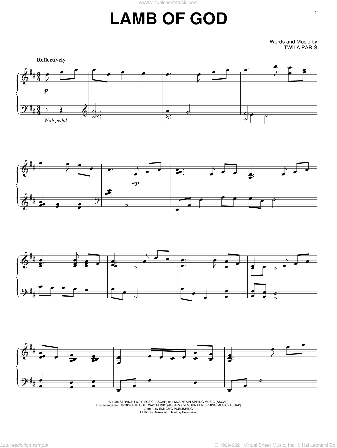 Lamb Of God sheet music for piano solo by Twila Paris, intermediate skill level