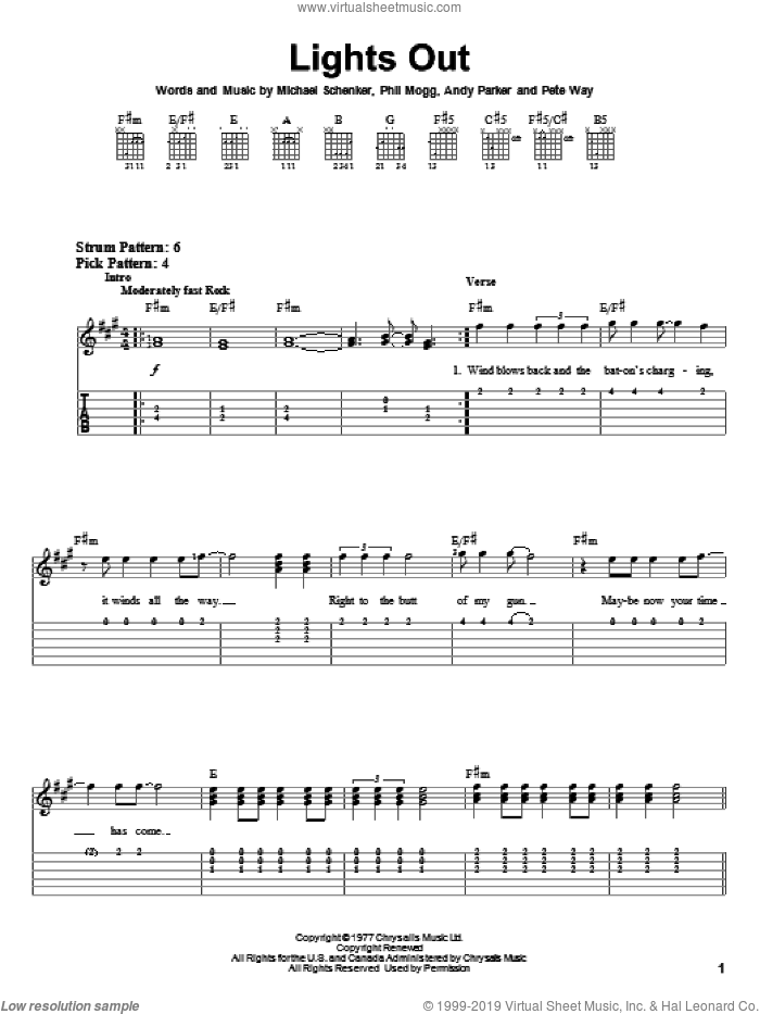 Lights Out sheet music for guitar solo (easy tablature) by UFO, Andy Parker, Michael Schenker, Pete Way and Phil Mogg, easy guitar (easy tablature)