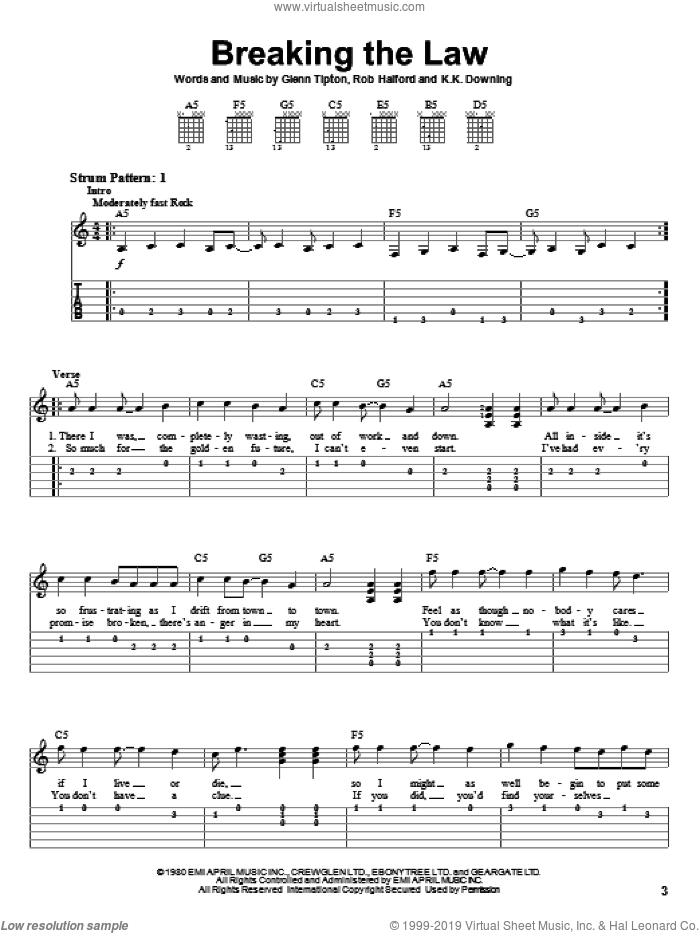 Breaking The Law sheet music for guitar solo (easy tablature) by Judas Priest, Glenn Tipton, K.K. Downing and Rob Halford, easy guitar (easy tablature)