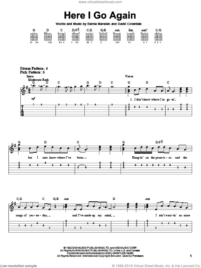Here I Go Again sheet music for guitar solo (easy tablature) by Whitesnake, Bernie Marsden and David Coverdale, easy guitar (easy tablature)