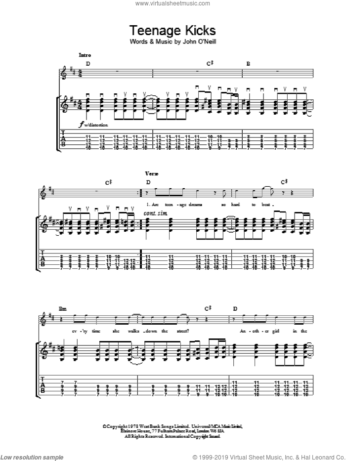 Teenage Kicks sheet music for guitar (tablature) by The Undertones, intermediate guitar (tablature). Score Image Preview.