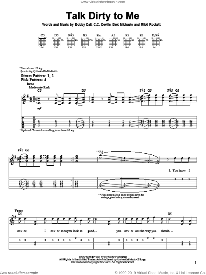 Talk Dirty To Me sheet music for guitar solo (easy tablature) by Poison, Bobby Dall, Brett Michaels, Bruce Anthony Johannesson and Rikki Rockett, easy guitar (easy tablature)