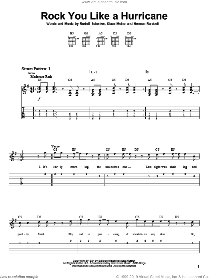 Rock You Like A Hurricane sheet music for guitar solo (easy tablature) by Rudolf Schenker, Scorpions and Klaus Meine. Score Image Preview.